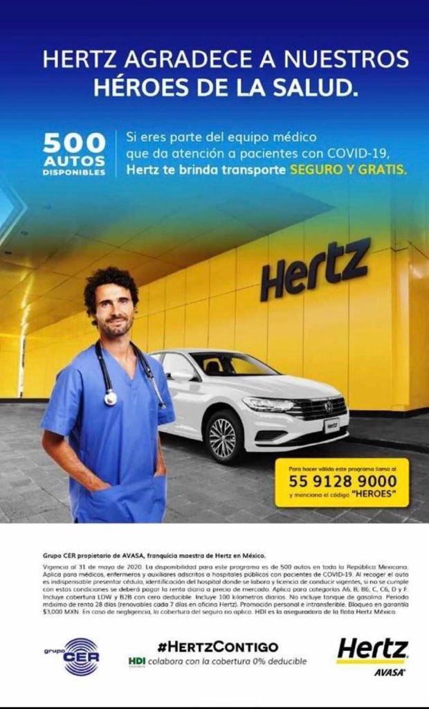 Hertz: Autos en renta gratis para personal médico y de enfermería en hospitales (Covid)