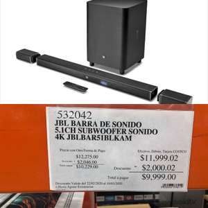 Costco Barra de Sonido JBL 5.1 Satellitales + Sub