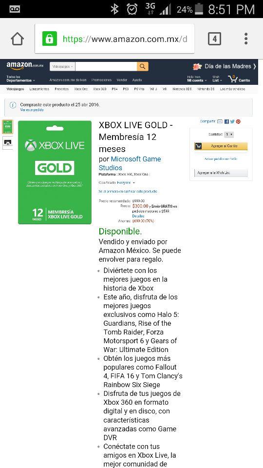 Amazon México: Membresia Xbox Gold 12 meses a $300