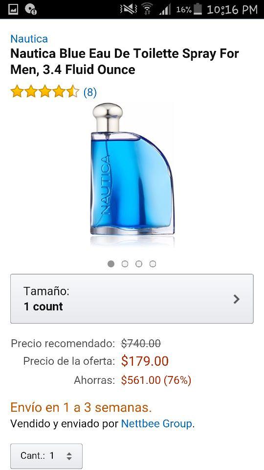 Amazon: Nautica Blue Eau a $179 + $80 de envío
