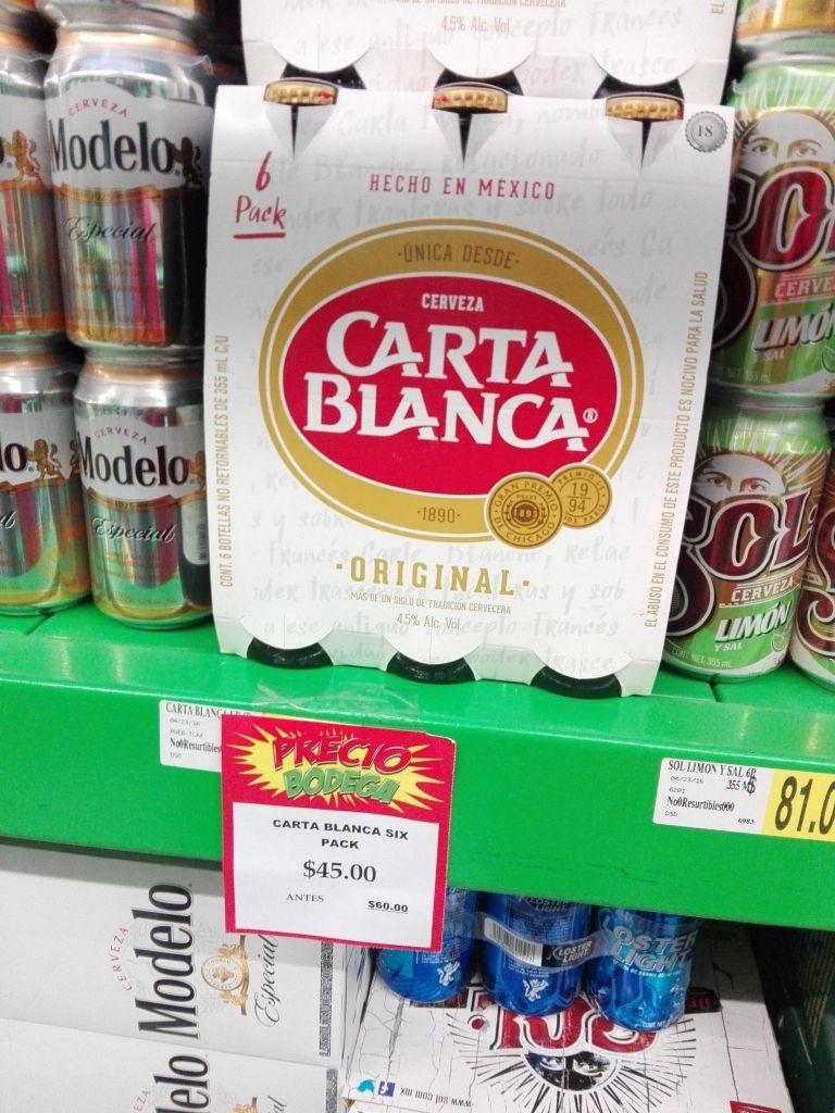 Bodega Aurrerá: Cerveza Six Pack Carta Blanca o Superios de 355ml a $45