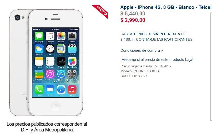 Best Buy en línea: Iphone 4S Telcel a $2,990