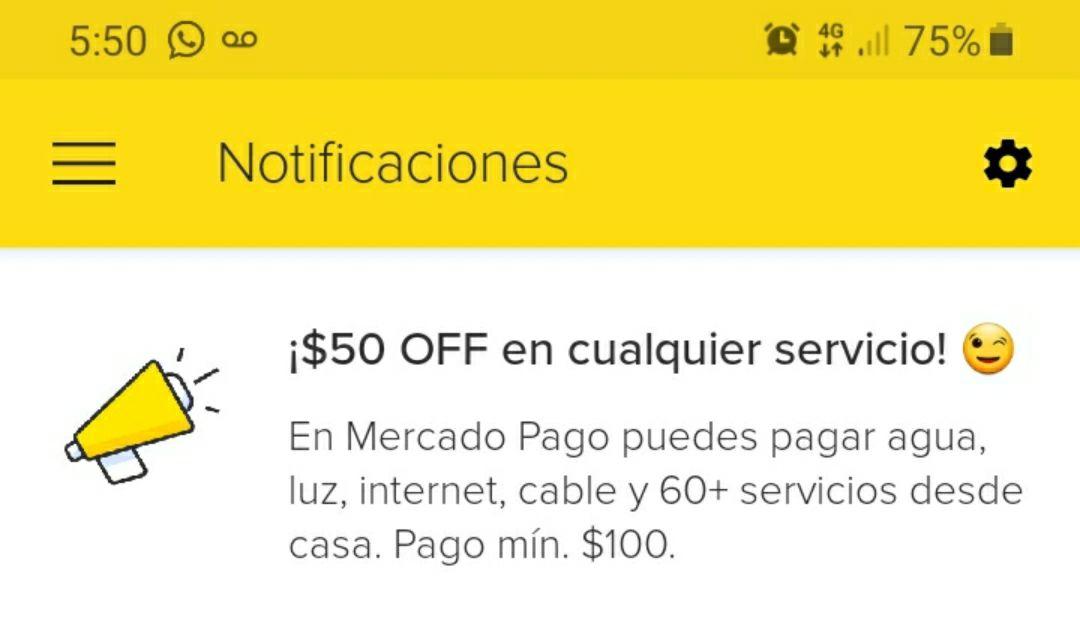 MercadoLibre 50off en servicios.