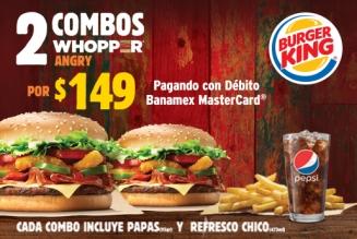 Burger King: Promoción 2 x $149 en Combos Whopper Angry con débito Banamex