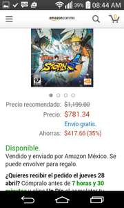 Amazon: Naruto Storm 4 para Playstation 4 a $781.34