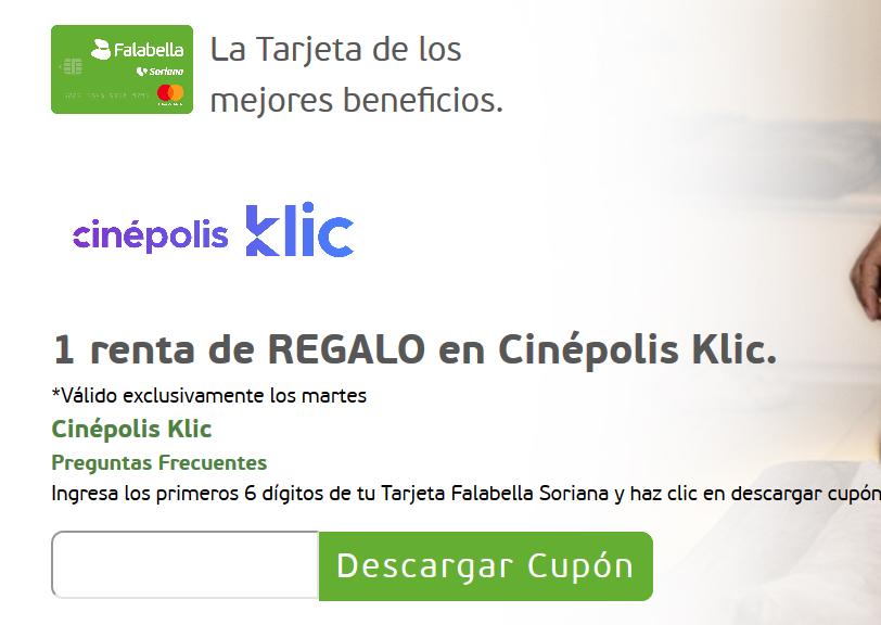 Tarjeta Falabella: Martes de Renta en Cinépolis Klic gratis