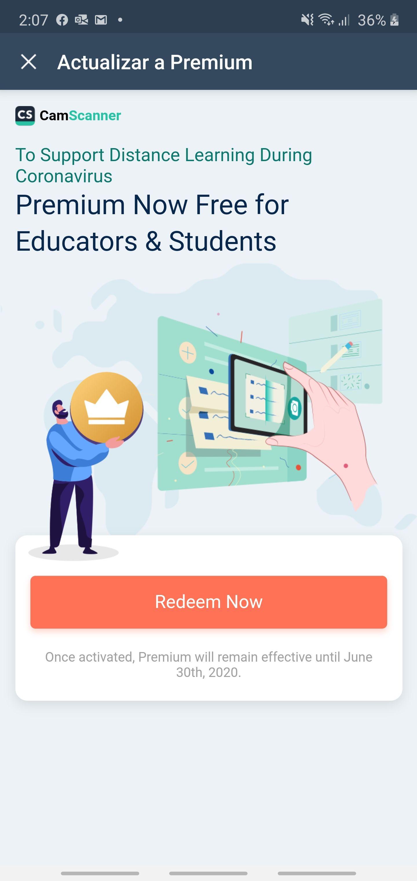 CamScanner: Premium gratis para maestros y estudiantes