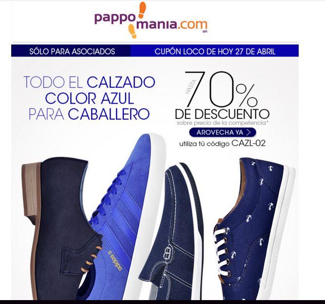 Cupón Pappomanía para calzado azul (23% descuento adicional) sobre artículos con descuento