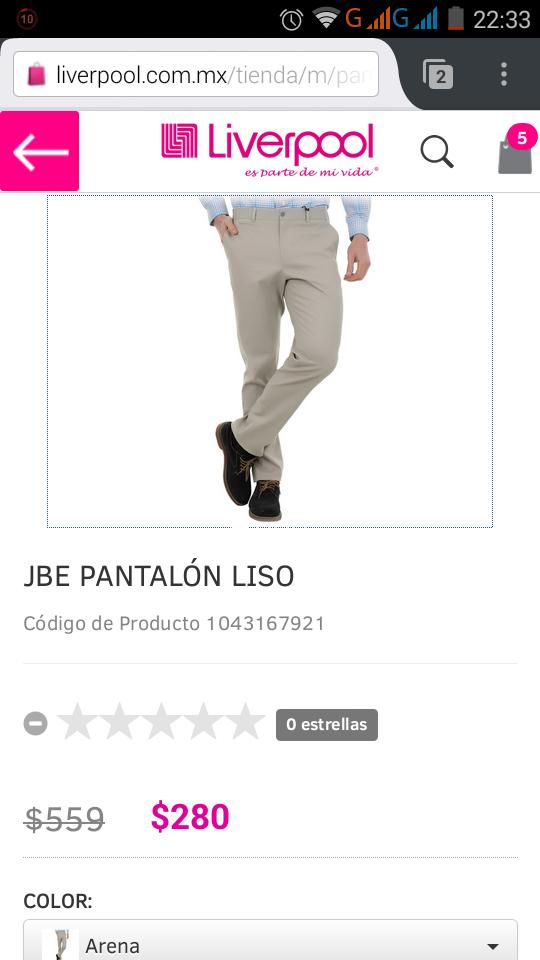 Liverpool en linea: Pantalón Jbe de $559 a $289 ($257 con cupón)