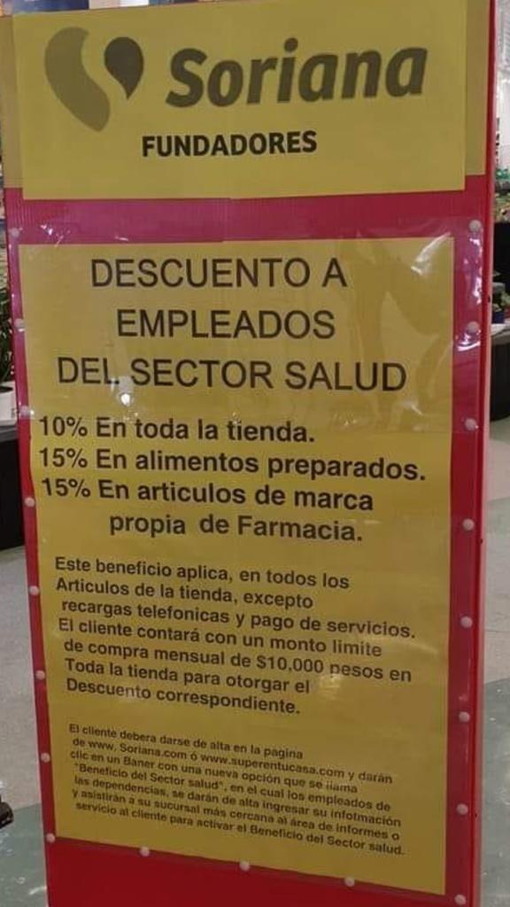 Soriana: 10 % de descuento a personal de la salud