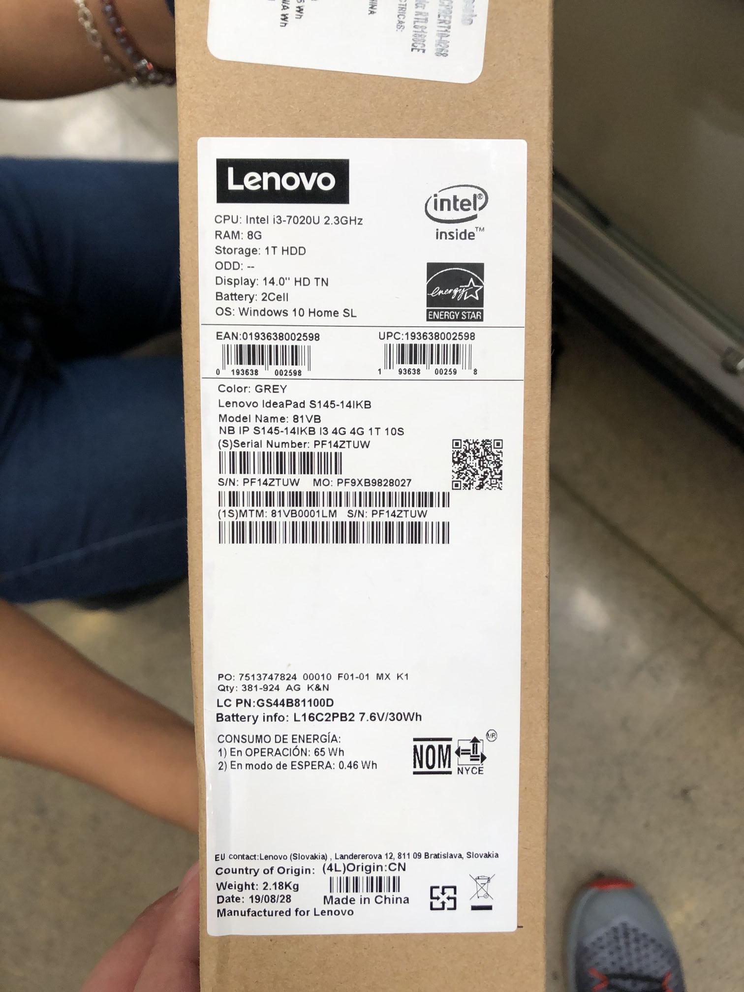 HEB Lenovo IdeaPad S145-14IKB
