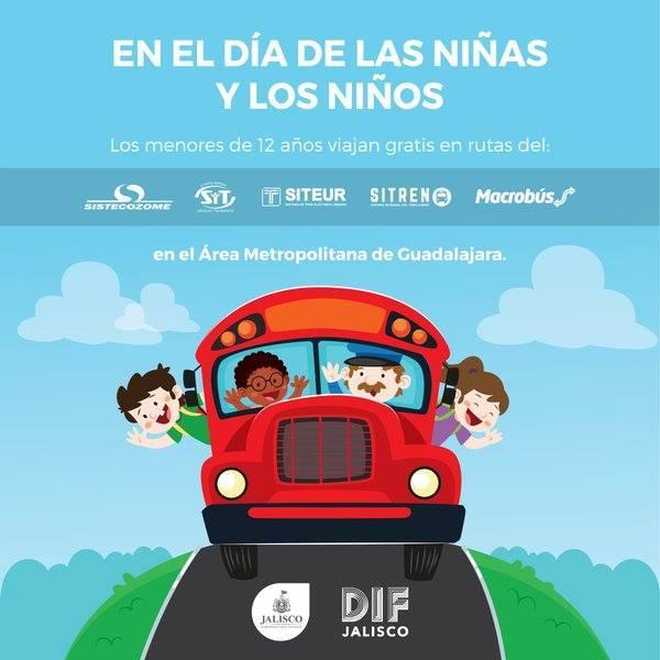 Promociones día del niño (GDL): transporte público gratis para niño