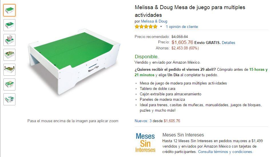 Amazon: Melissa & Doug Mesa de juego a $1,339 con Banamex