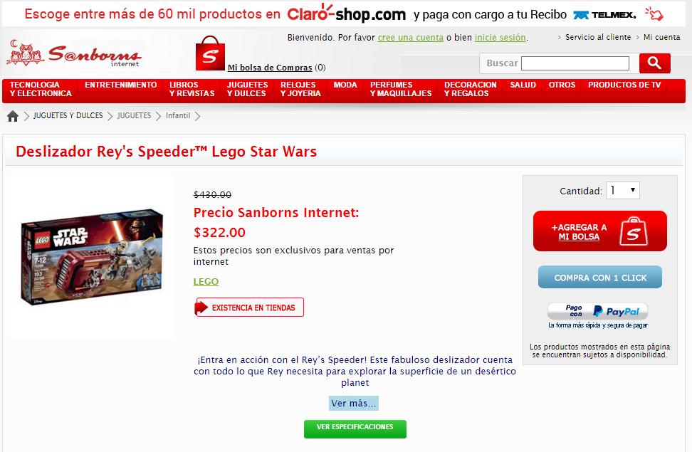 Sanborns en línea y tienda: 20% de descuento en Lego del 28 al 30 de abril