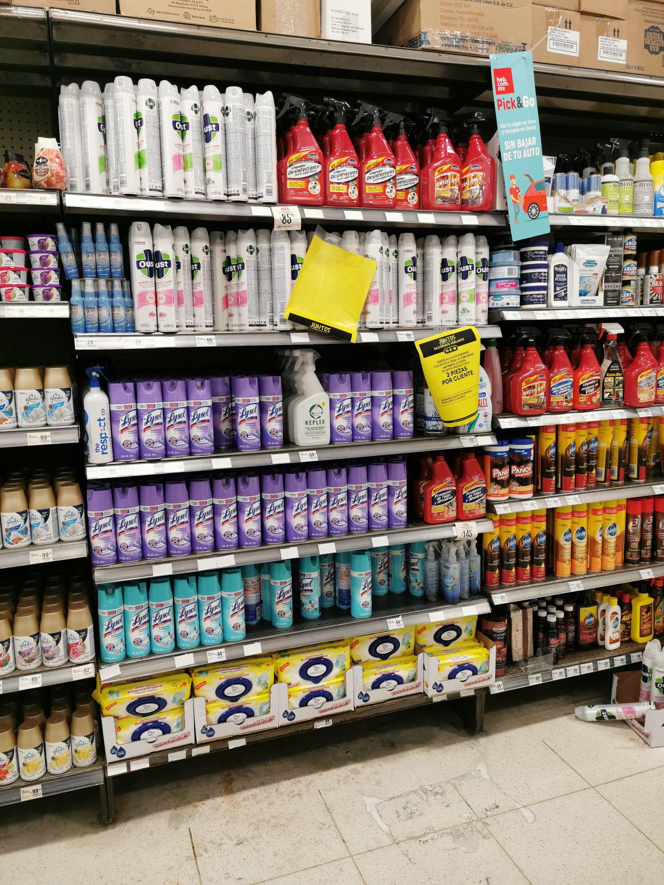 HEB: Variedad de Desinfectantes Lysol, Oust y Toallitas