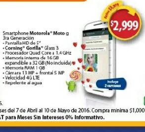 Walmart: Moto G3 16Gb Dual Sim con 2 tapas a $2,999