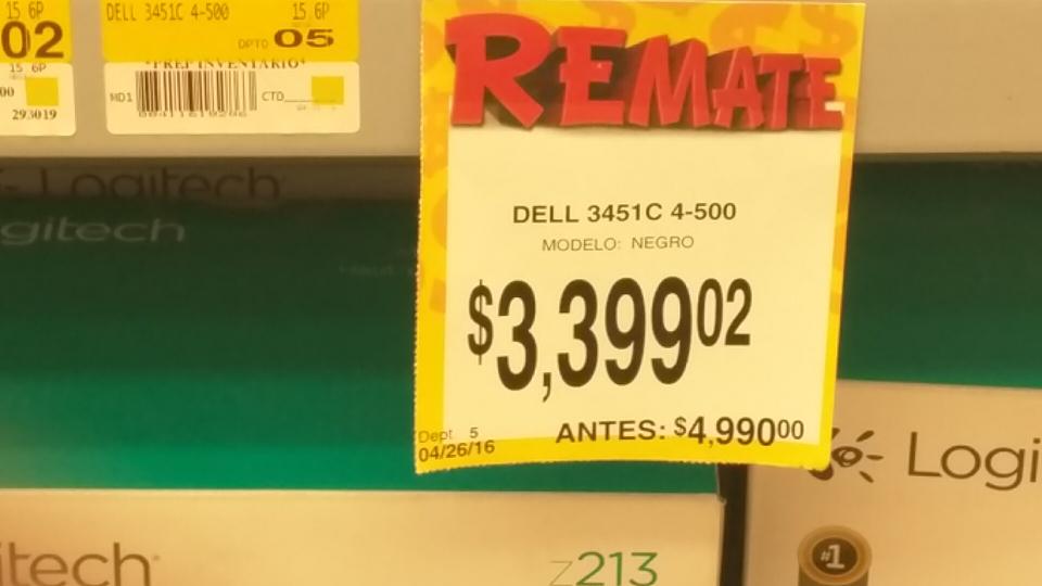 Bodega Aurrerá: laptop Dell 3451c a $3,399.02