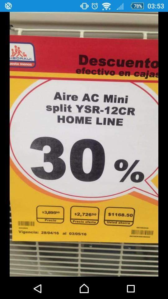 Chedraui: 30% de descuento en aires acondicionados, ejemplo Mini split YSR-12CR Home Line a $2.726