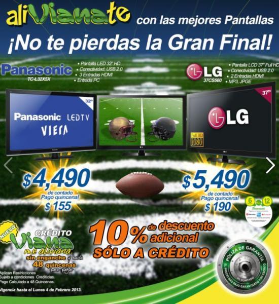 """Viana: pantalla LED Panasonic de 32"""" $4,490 o LCD LG de 37"""" $5,490"""