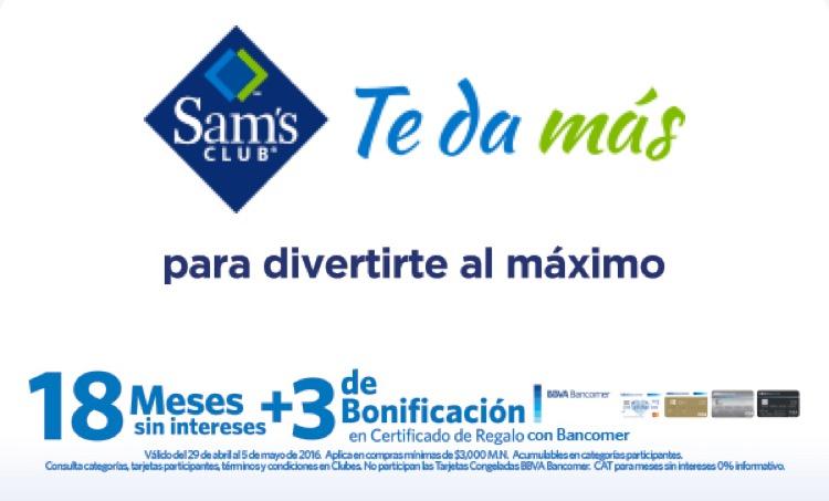 Sam's Club: 18 MSI y 3 de bonificación en certificado de regalo del 29 de abril al 5 de mayo