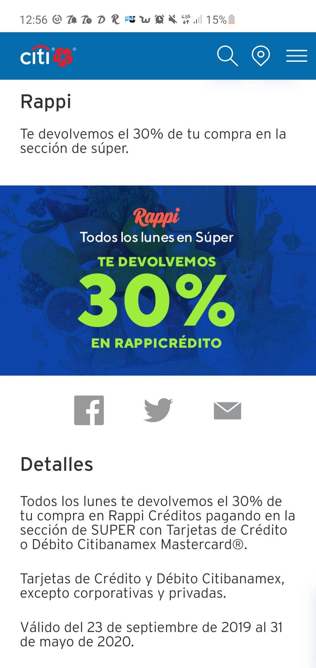 Rappi: 30% en Rappicréditos