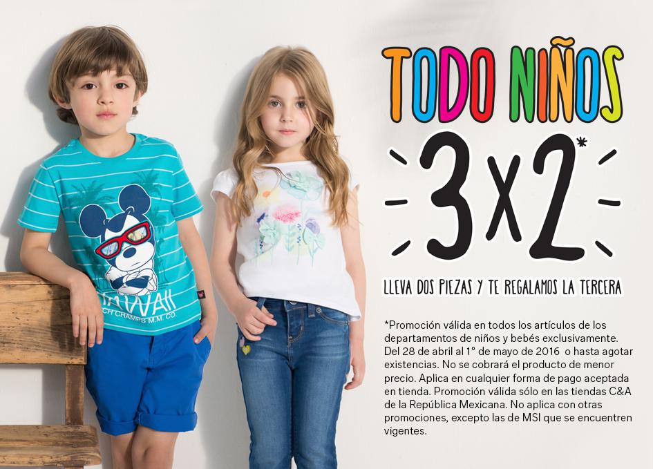 Promoción día del niño en C&A: 3x2 en todo niños