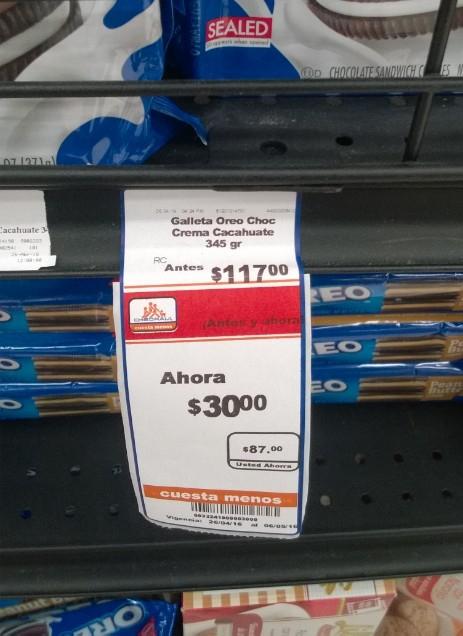 Chedraui: Galletas Oreo varios sabores de $117 a $30