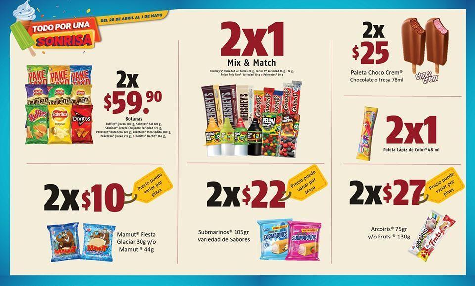 Oxxo: Todo por una Sonrisa promociones del día del niño Dulces, Paletas de hielo y Juguetes al 2x1 y más.