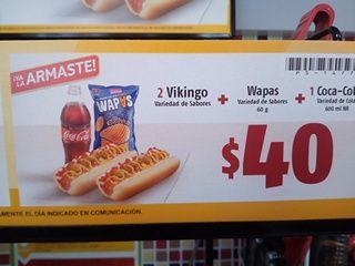 Oxxo: 2 Vikingos + Wapas Queso 60 gr + Coca Cola 600 ML por $40 pesos. Porción de Queso Gratis. Galletas Chokis 2X18