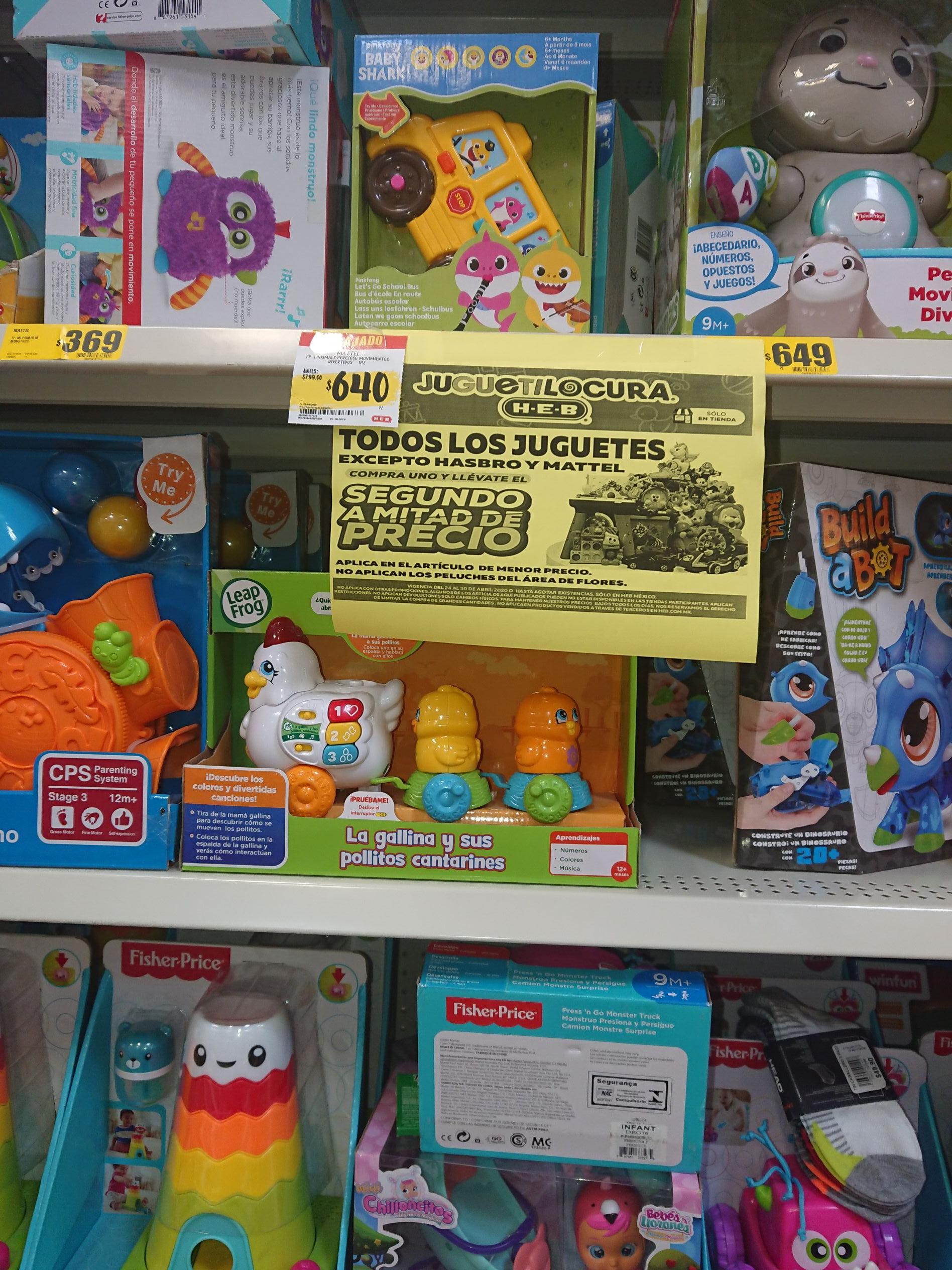 HEB: Compra 1 juguete y Llevate el segundo a mitad de Precio