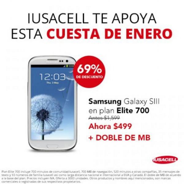 Samsung Galaxy SIII gratis en plan de $659 con Telcel (R9) o a $499 en Iusacell plan Elite 700