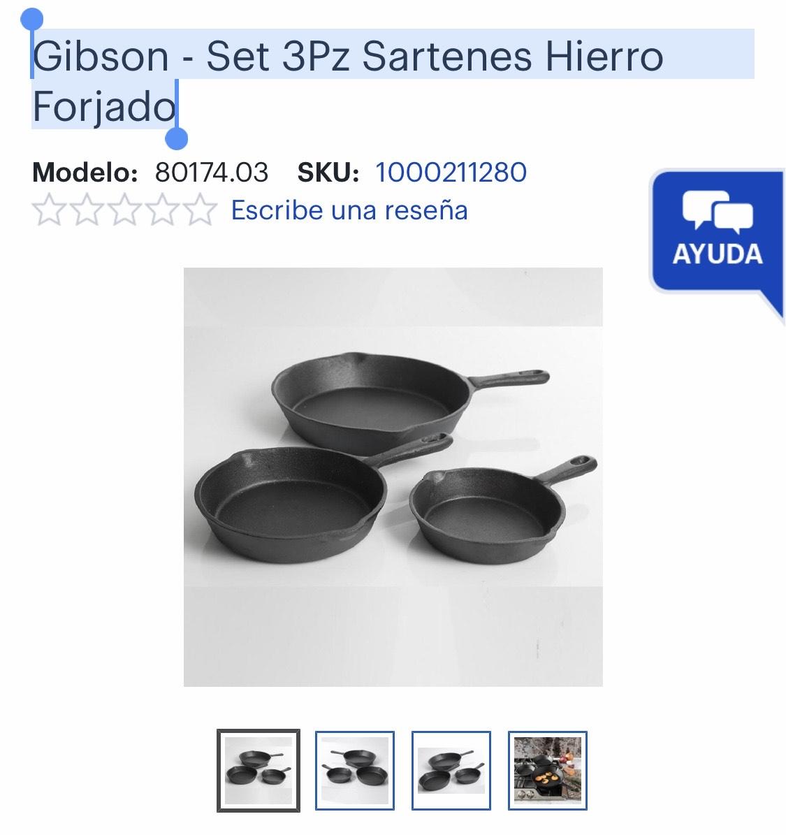 Best Buy: Gibson - Set 3Pz Sartenes Hierro Forjado