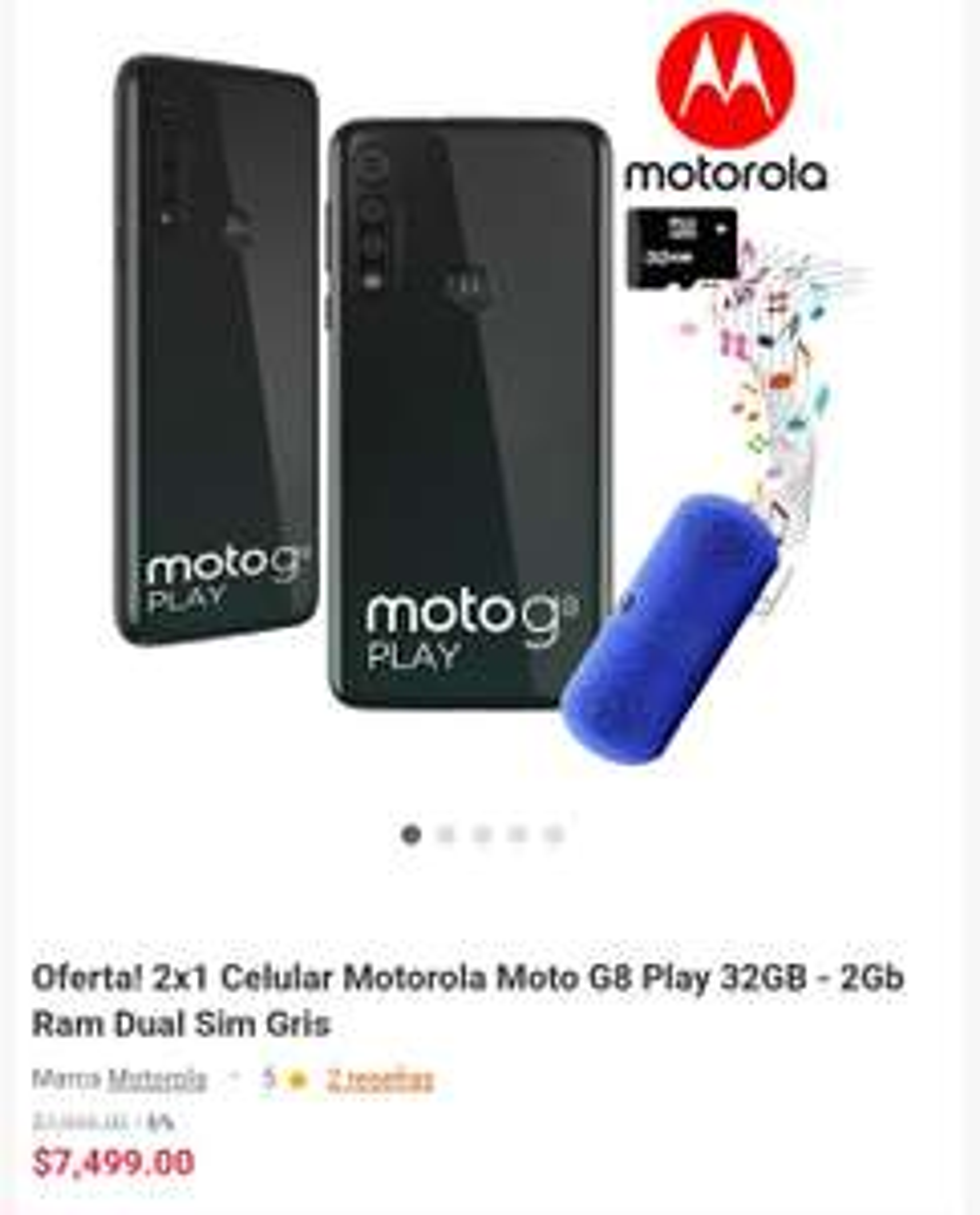 Linio: 2x1 Celulares Motorola Moto G8 Play+ 1 bocina y 1 memoria