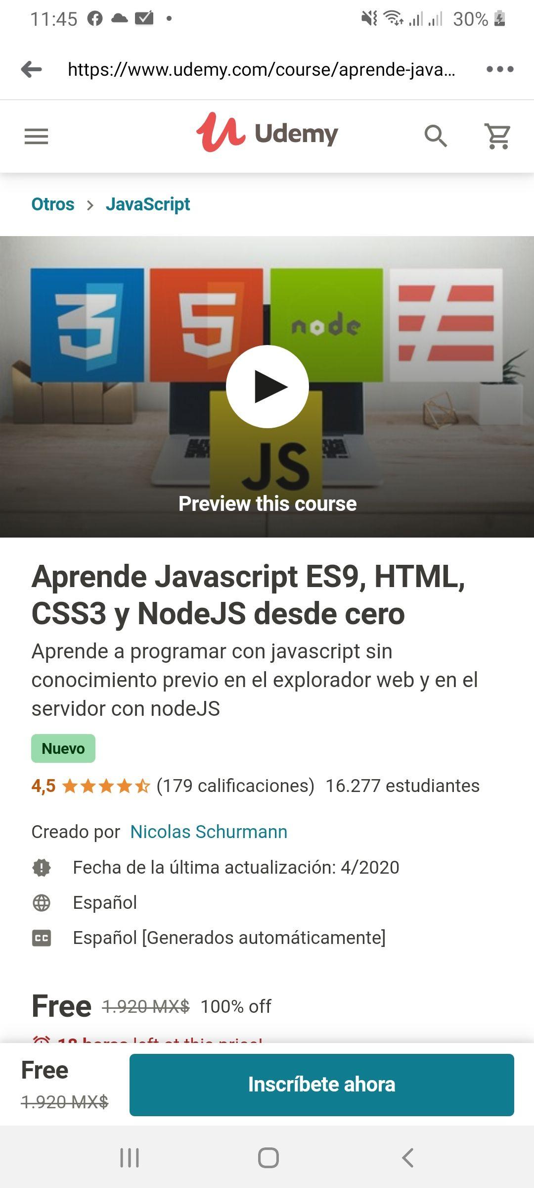 Udemy: Aprende Javascript ES9, HTML, CSS3 y NodeJS desde cero