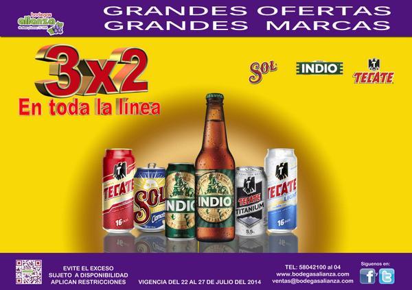 Bodegas Alianza: 3x2 en cervezas Sol, Indio y Tecate