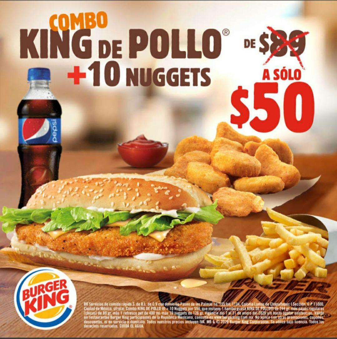 Sindelantal combo King de pollo más nuggets con envío gratis.