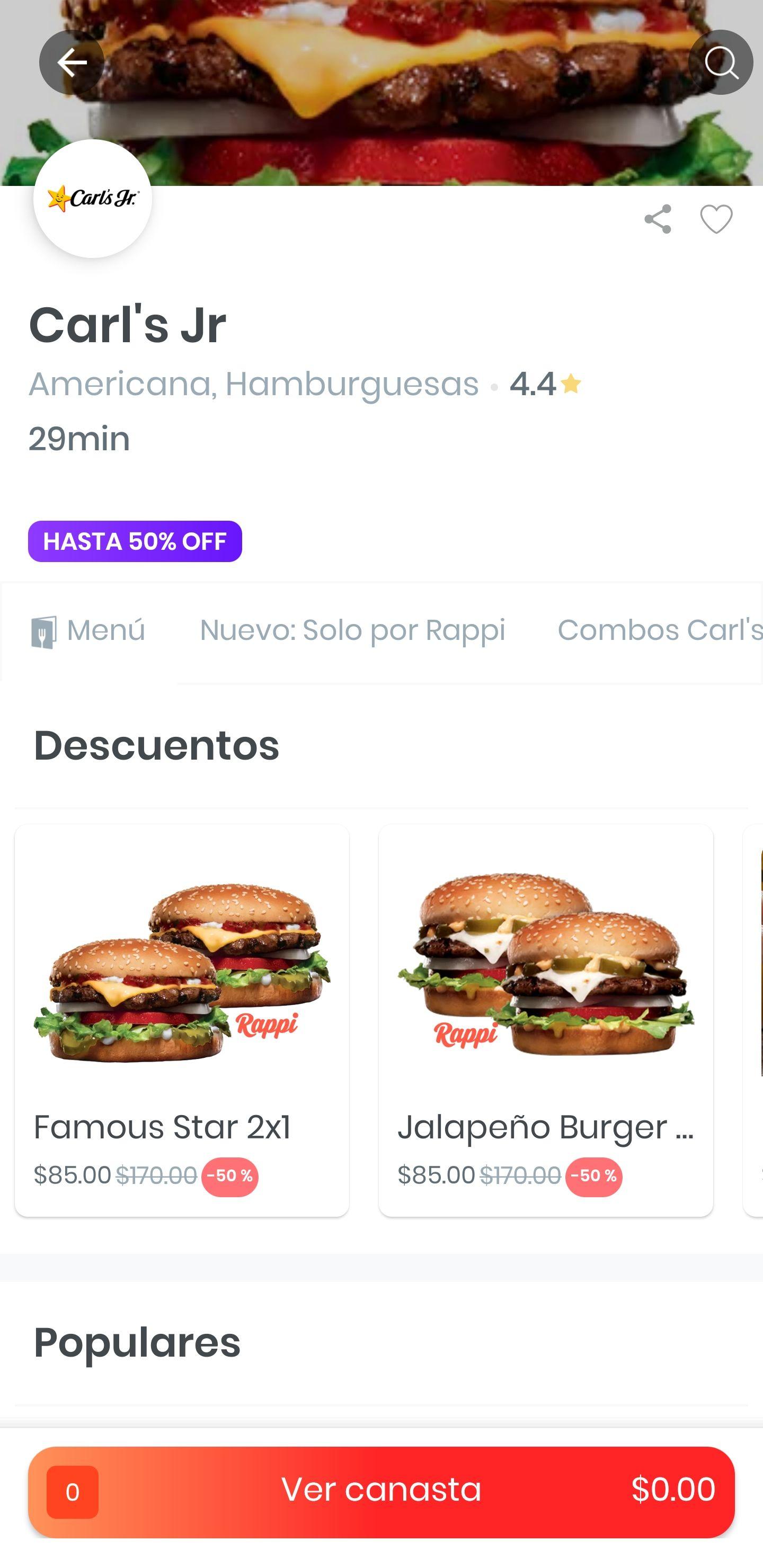Rappi y Carl's Jr: 2x1 hamburguesa