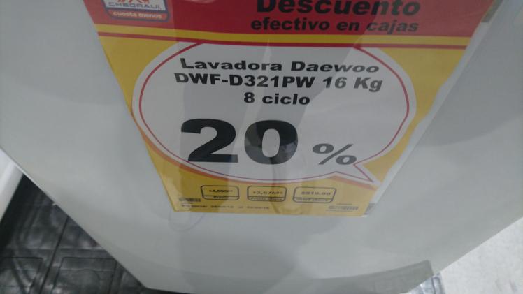 Chedraui: Lavadora Daewood 16 Kg $3676 (mas 300 es cupones)