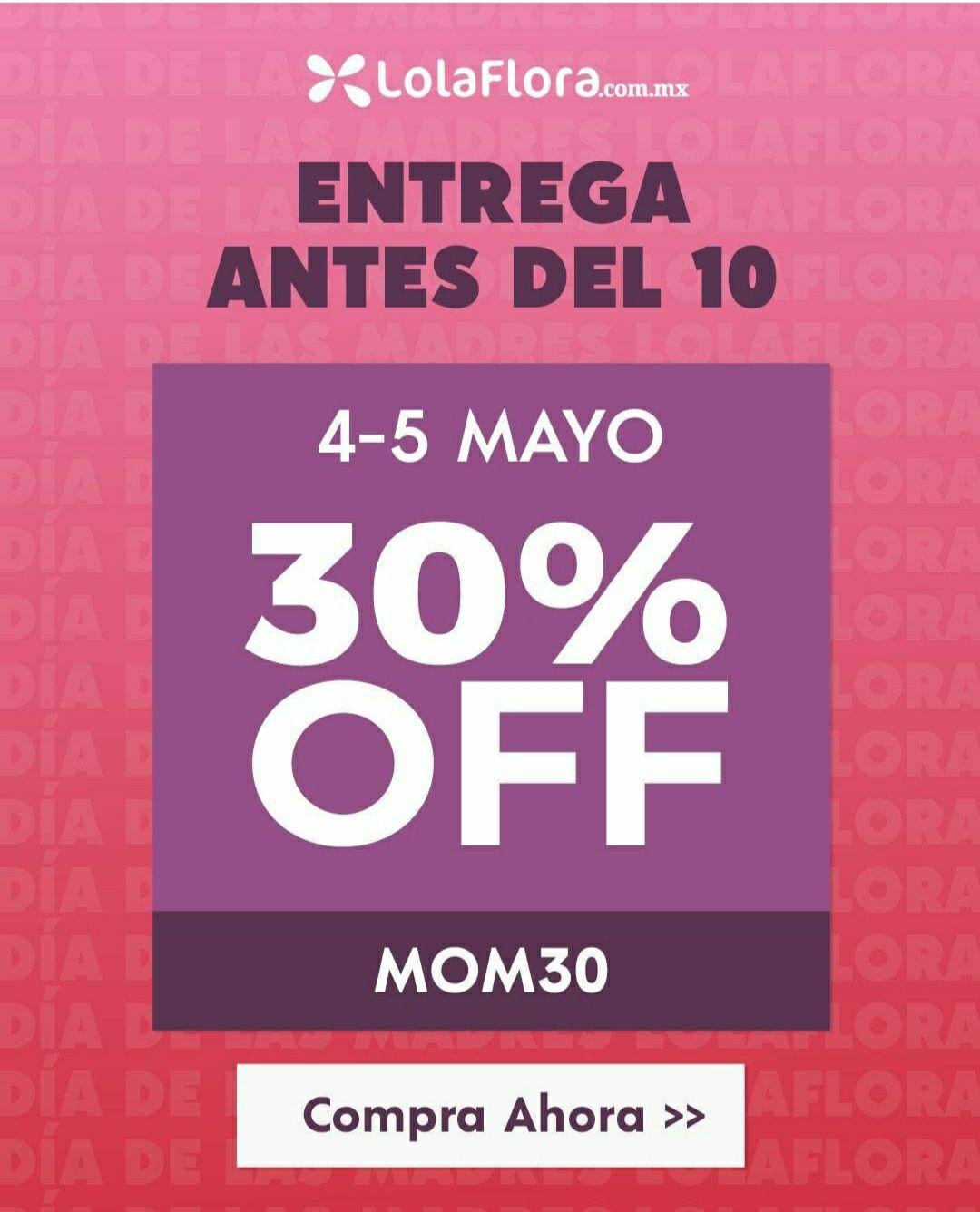 Lolaflora: 30% de descuento en flores por el Día de las Madres