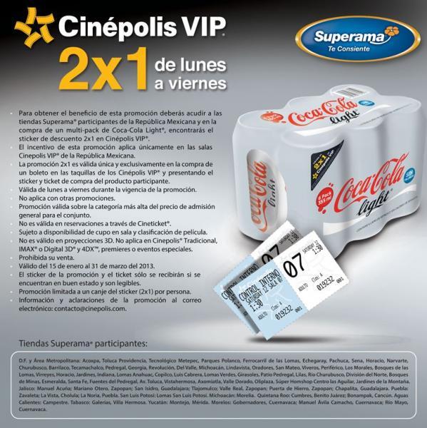 Cinépolis: cupón de 2x1 para sala VIP comprando six de Coca Light en Superama