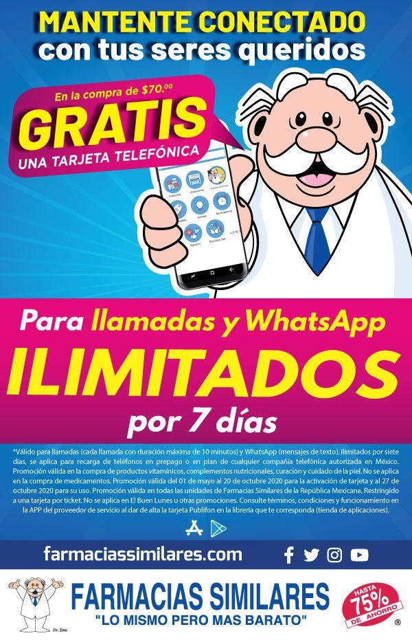 Farmacias Similares: En la compra de $70 gratis una tarjeta telefónica para llamadas y WhatsApp ilimitados por 7 días