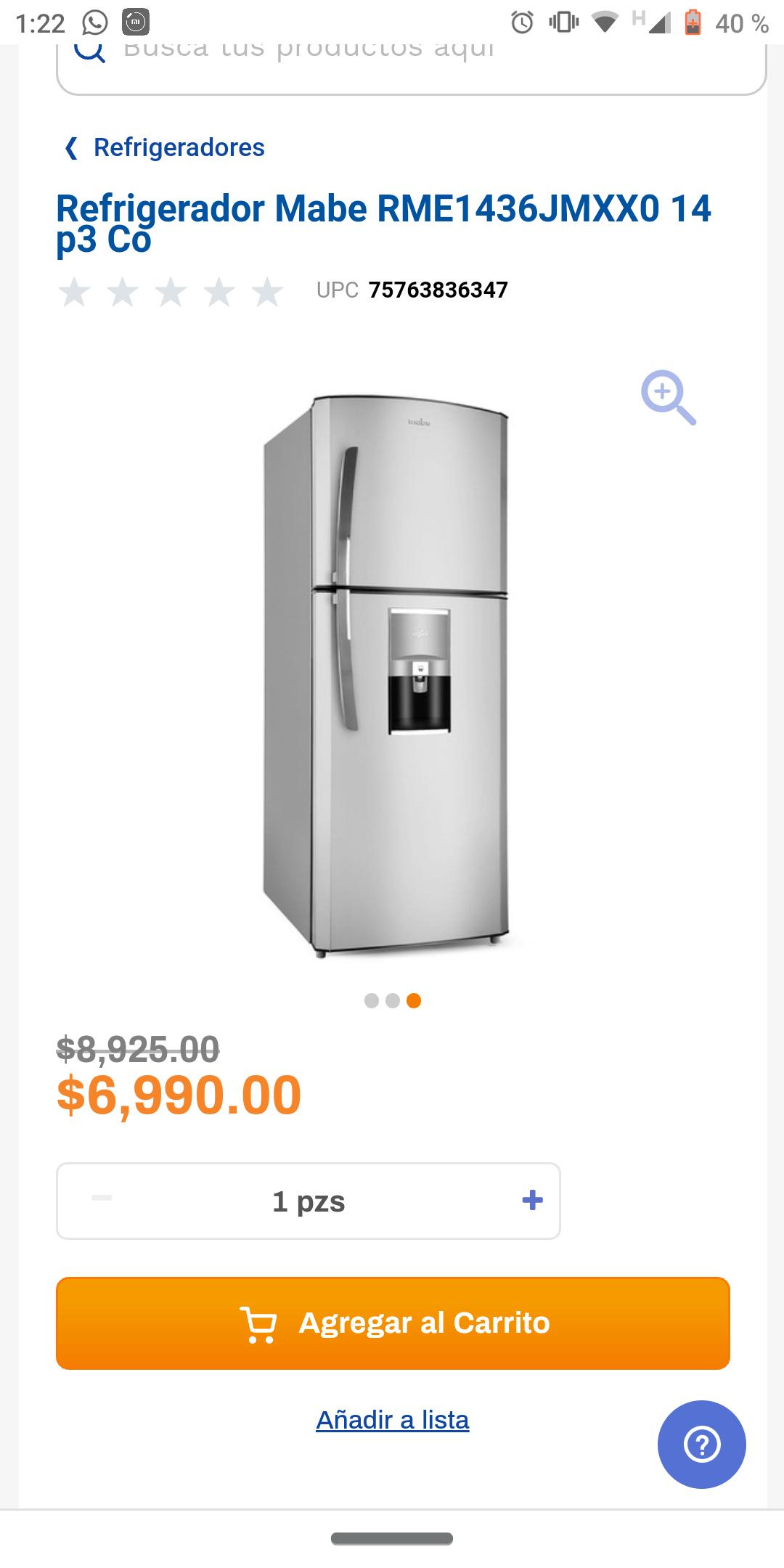 Chedraui en línea: Refrigerador Mabe de 14 pies