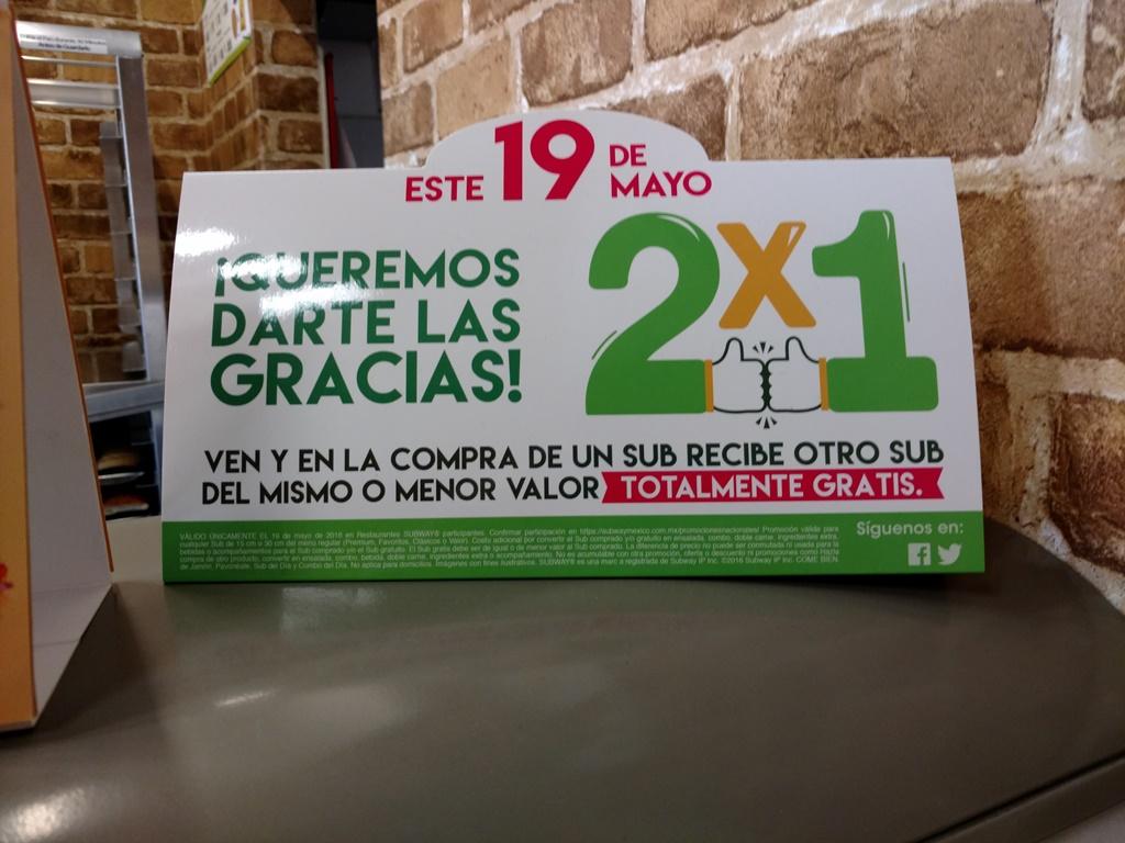 Subway: 2x1 en todos los Subs el 19 de mayo
