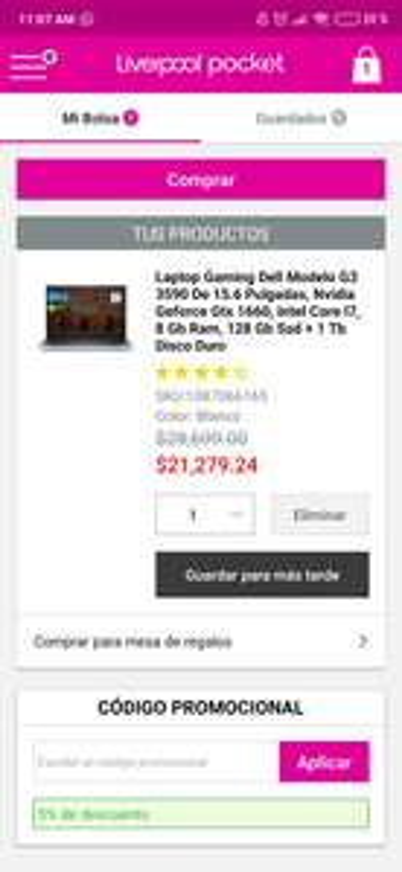 Liverpool: Dell Modelo G3 3590 de 15.6 Pulgadas, NVIDIA GeForce GTX 1660 TI, Intel Core i7, 8 GB RAM, 128 GB SSD + 1 TB Disco Duro