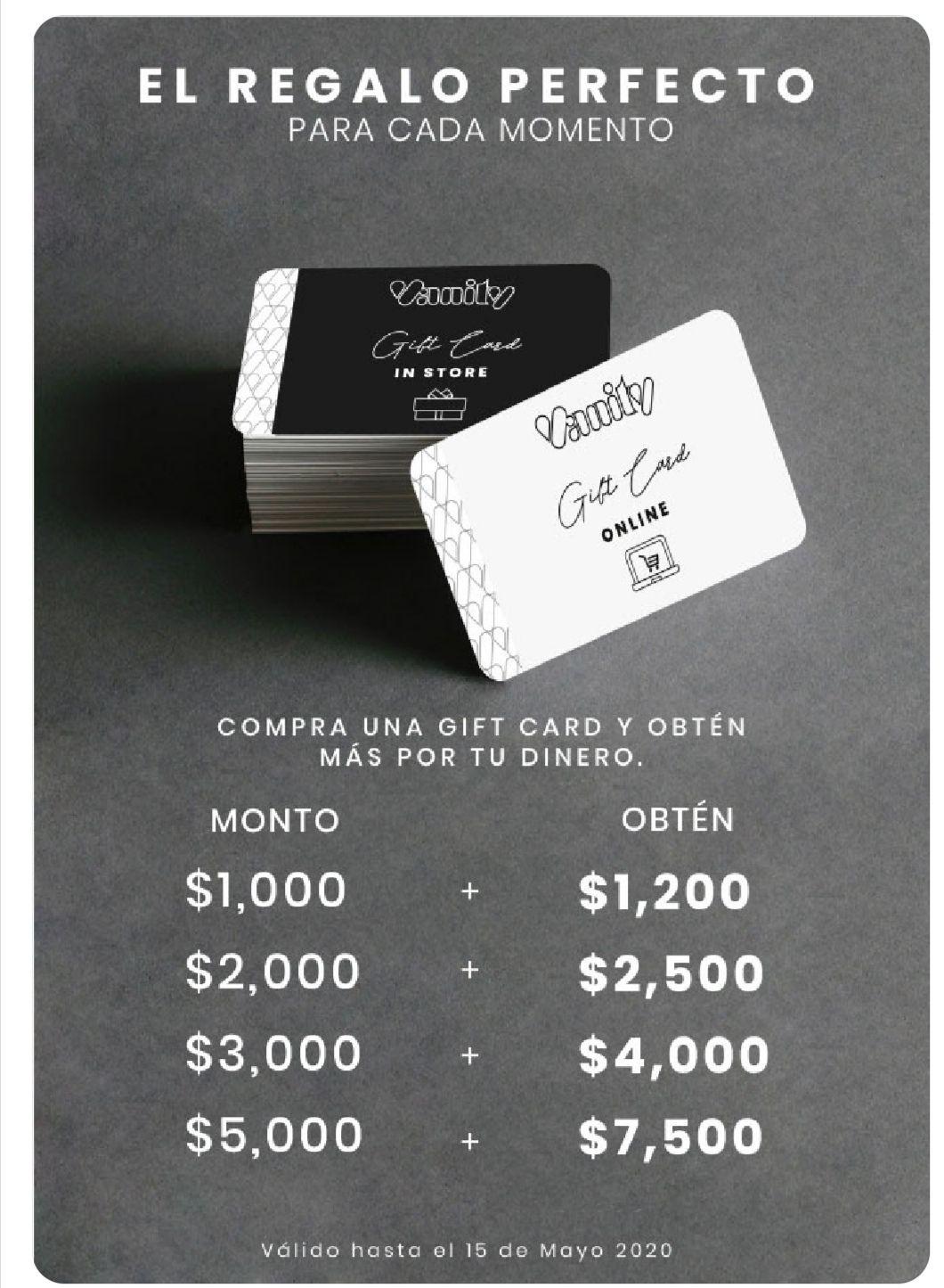 Promoción Vanity Día de las Madres de 20% a 50% adicional de saldo en gift cards