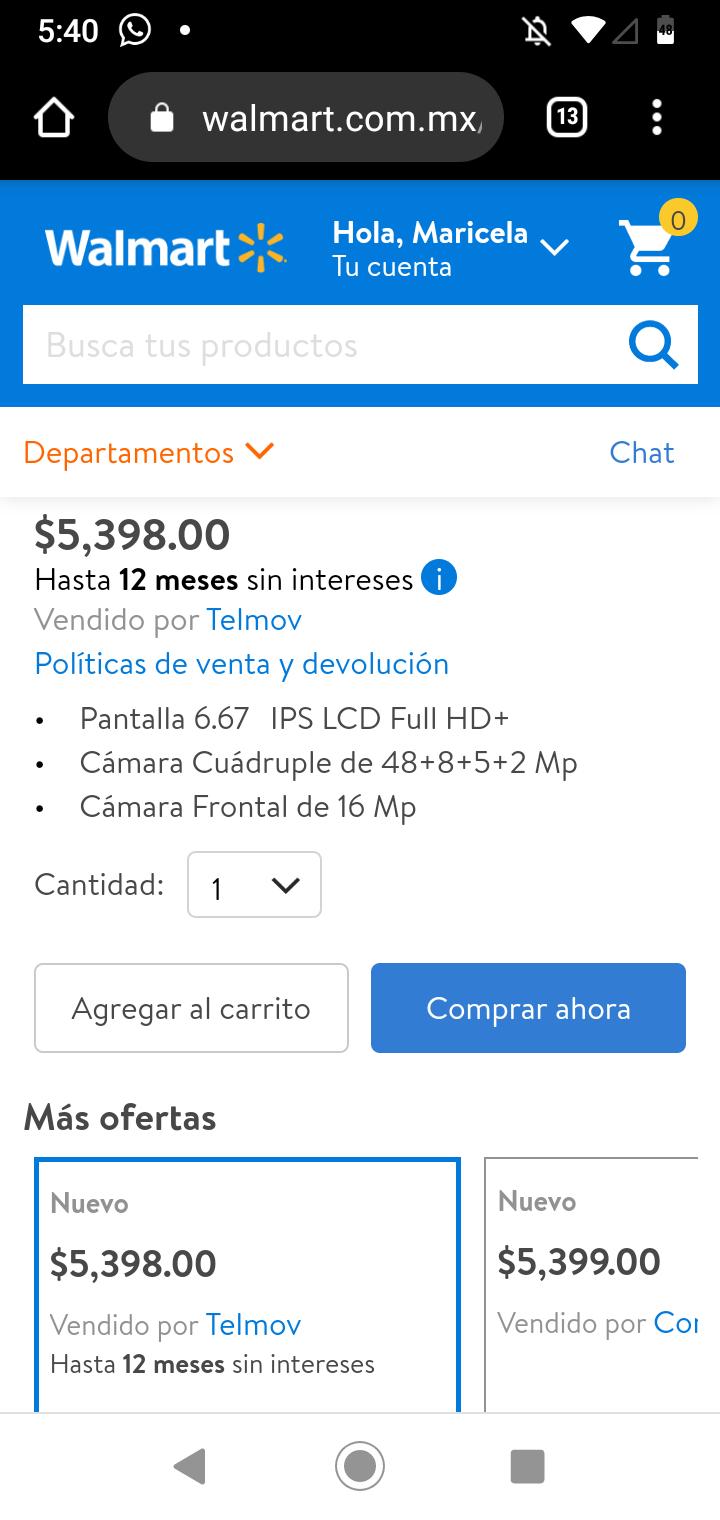 Walmart en línea: Xiaomi Redmi Note 9S