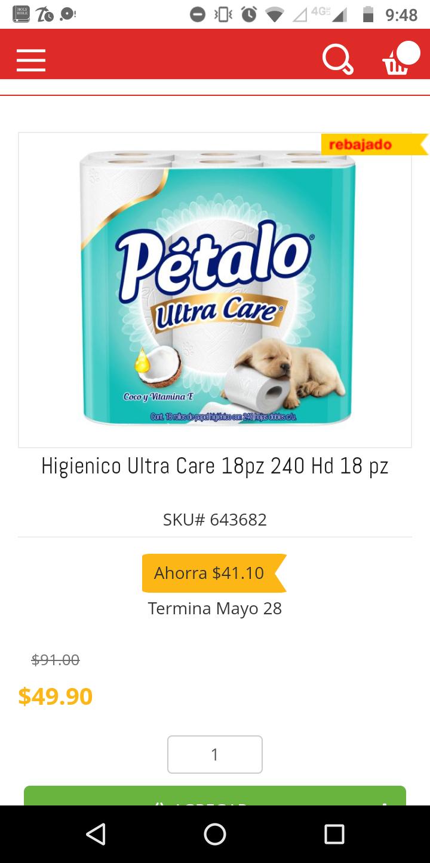 HEB: papel higiénico pétalo 18 rollos