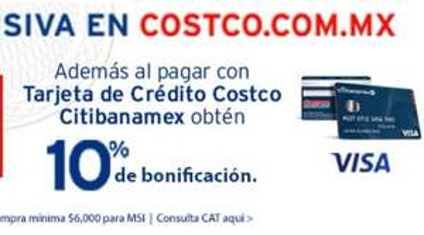 COSTCO: 10% de bonificación (Tarjetas de Crédito Costco Citibanamex)