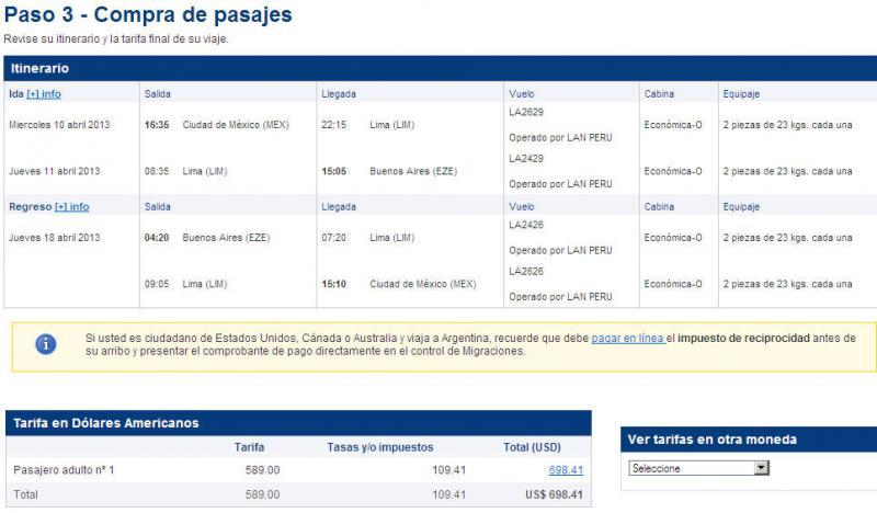 Vuelos redondos a Argentina y Brasil $699 USD, Bolivia, Perú y Colombia $449