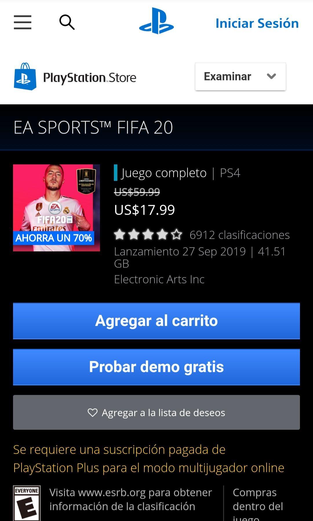 PSN: Fifa 20 para ps4